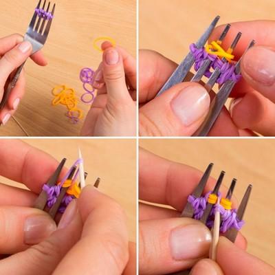 Как сделать браслеты из резинок на вилках