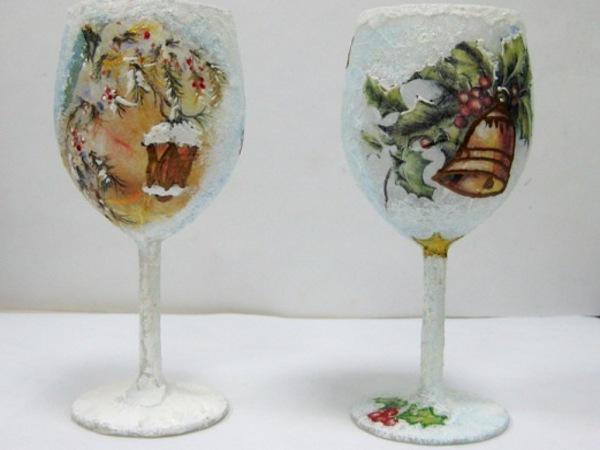 Декупаж новогодних бокалов своими руками