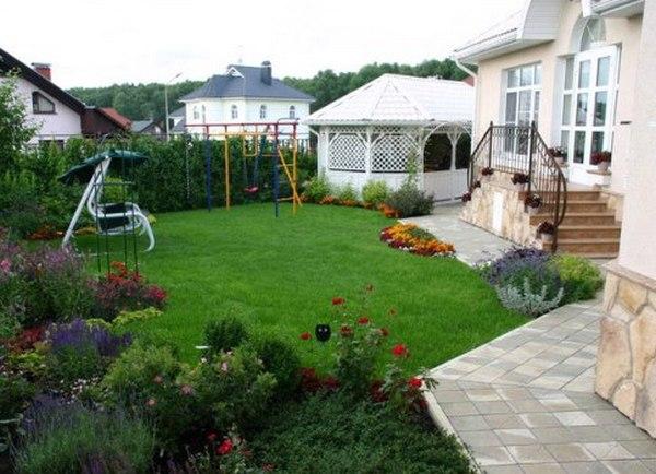 Ландшафтный дизайн перед двором частного дома