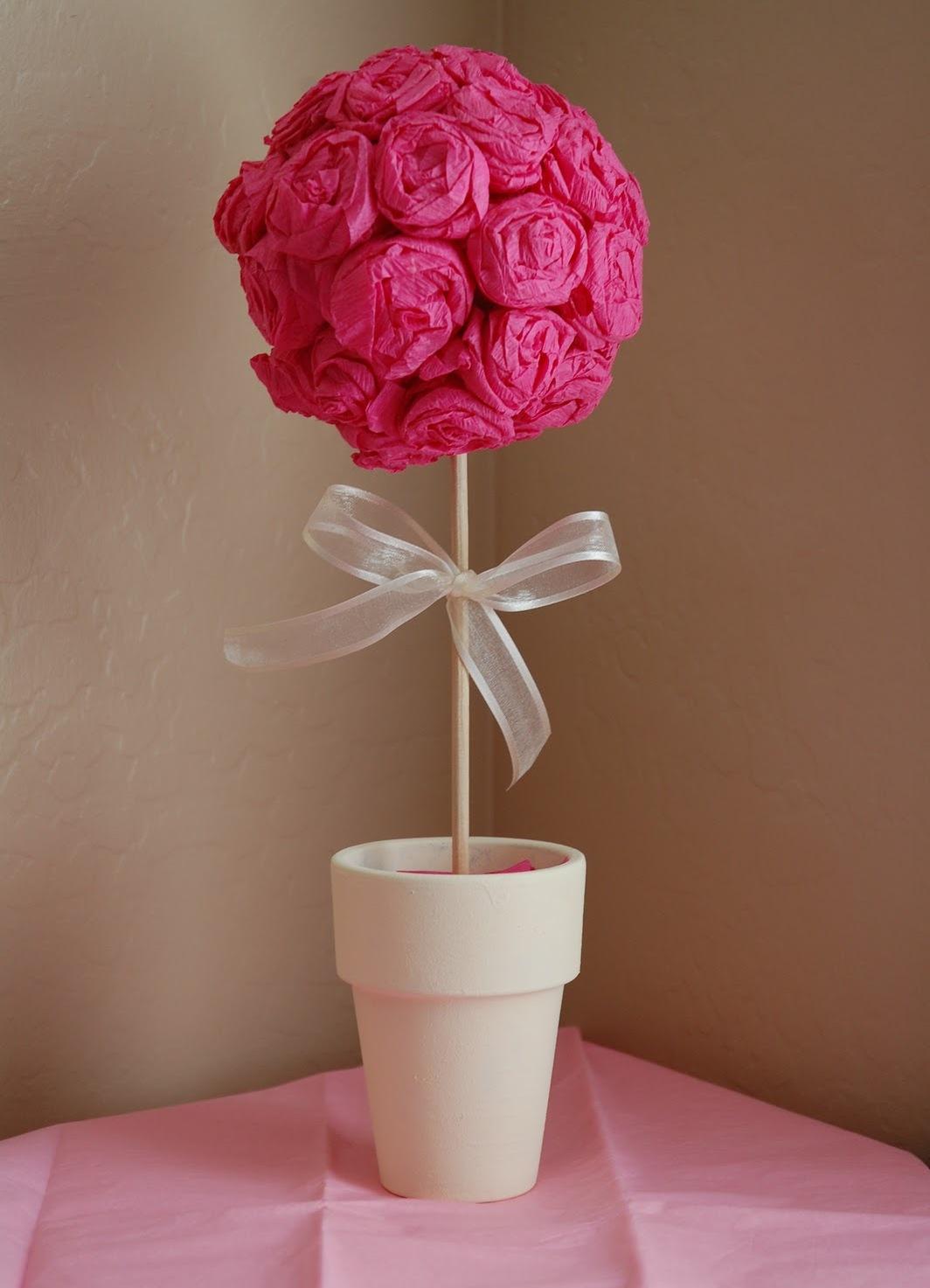 Розовый топиарий своими руками