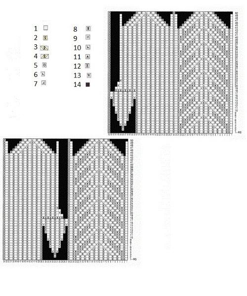 Схемы рельефных узоров для варежек спицами 2