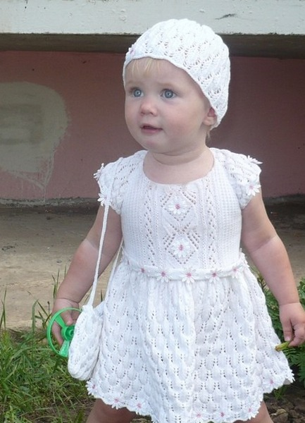 Детская юбка ажурная спицами