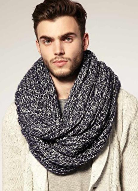 Вязаный мужской шарф своими руками