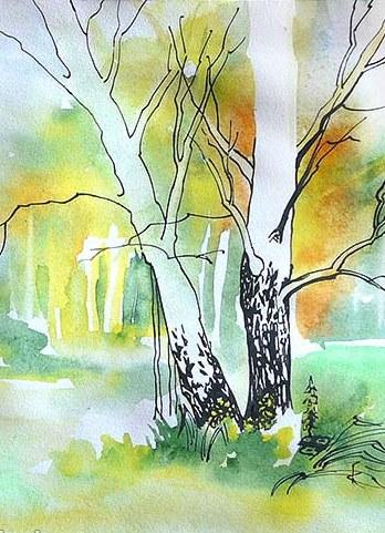 Как нарисовать пейзаж деревьев