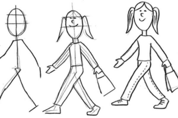 Поэтапное рисование фигуры человек 5