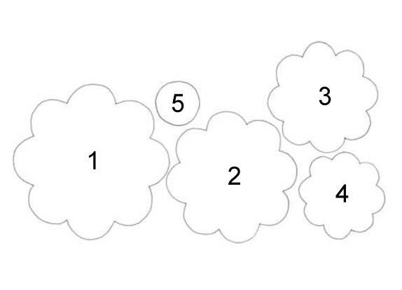 Также вырежьте шаблон серединки цветка - небольшой кружочек.  Далее следует по этим шаблонам.