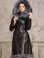 Кожаное пальто с чернобуркой