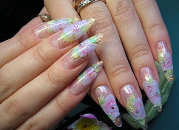 Фиалки на ногтях маникюр 4