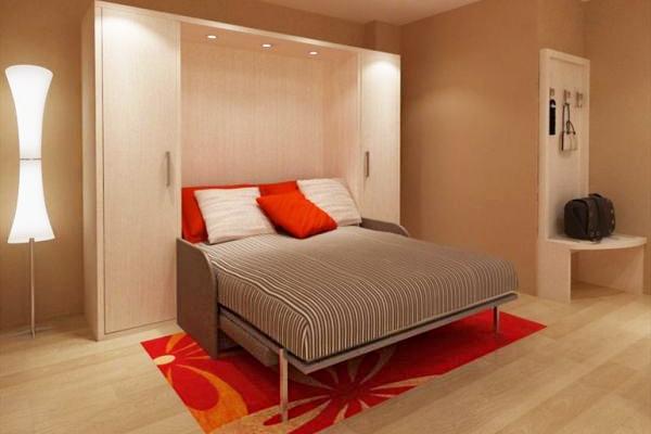 Примеры интерьера спальни 12 кв.м с кроватью-трансформер фото