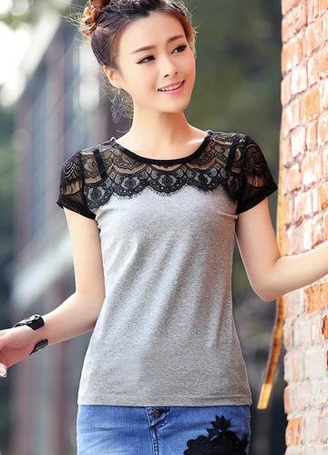 Комбинированные футболки с кружевом своими руками