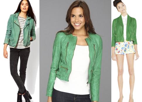 Кожаная куртка на зеленое