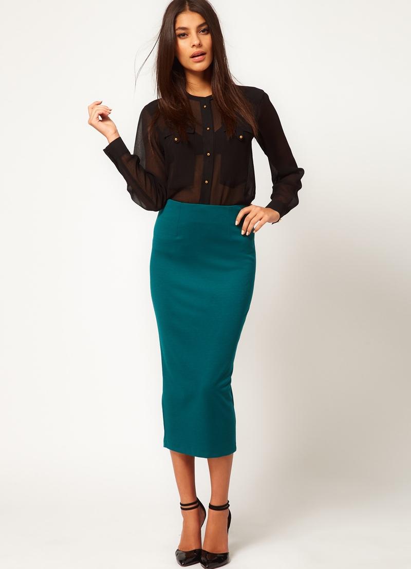 Прямая трикотажная юбка с чем носить
