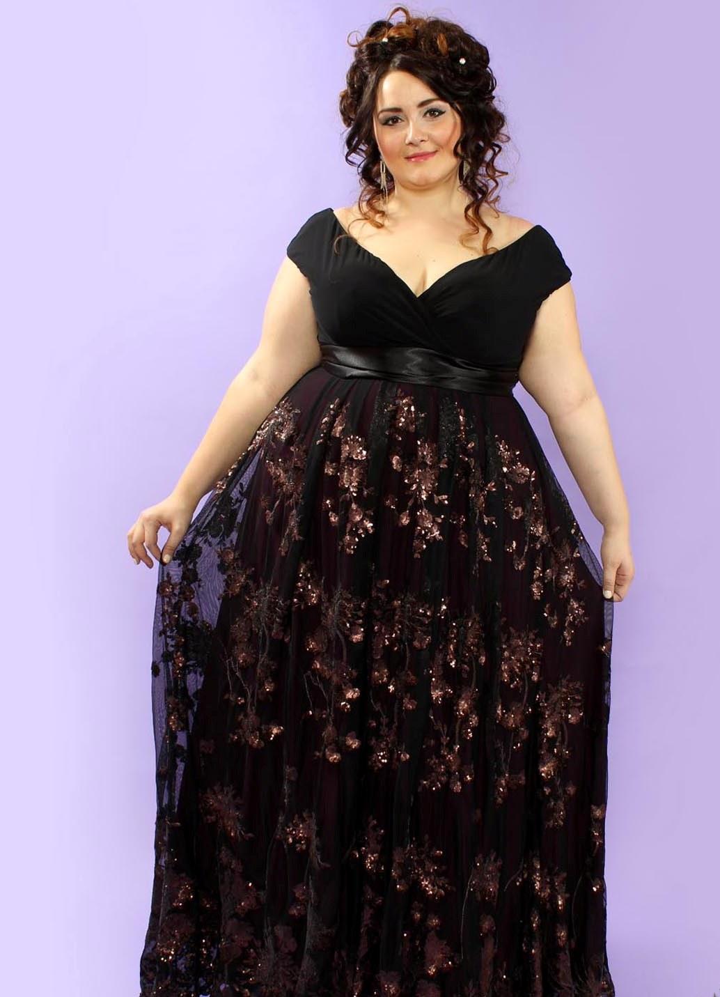 Красивые длинные вечерние платья на полных женщин