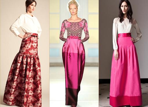 Длинная юбка с высокой талией фото