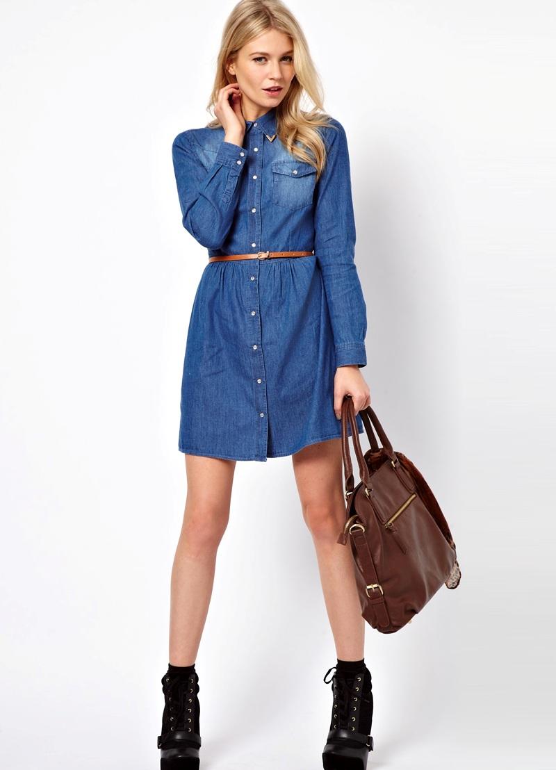 Модное джинсовое платье рубашка