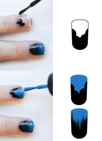 Как сделать омбре на ногтях гель лаком кистью