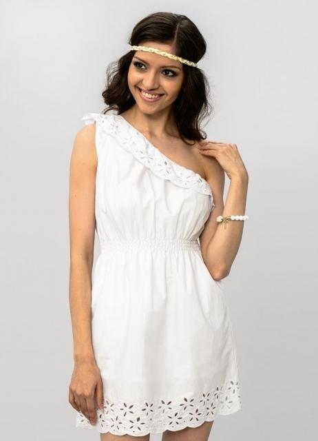 Короткое белое кружевное платье | Классическое короткое белое