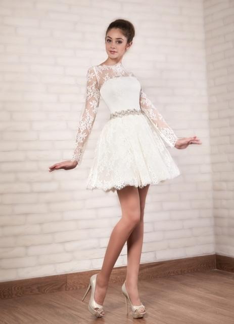 короткое кружевное свадебное платье 4