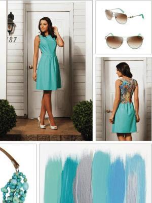 Сочетание мятного платья