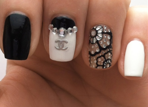 Дизайн ногтей в стиле шанель