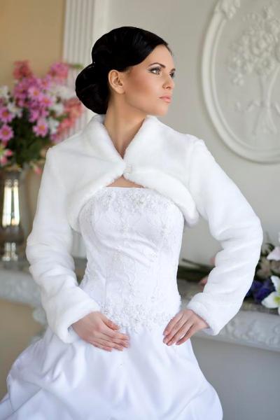 Меховая накидка на свадебное платье купить в