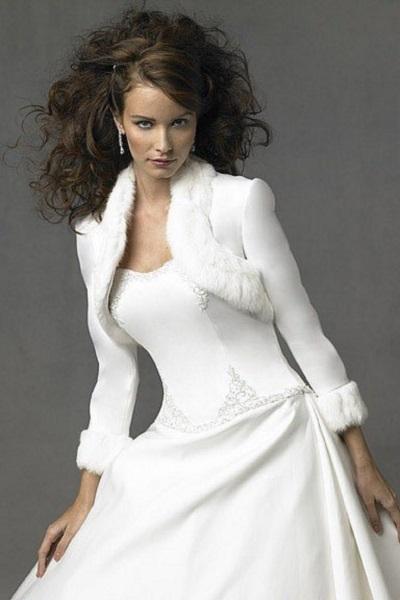 меховая накидка на свадебное платье 2