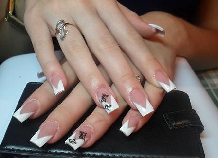 Фото нарощенных ногтей черно белый френч 88