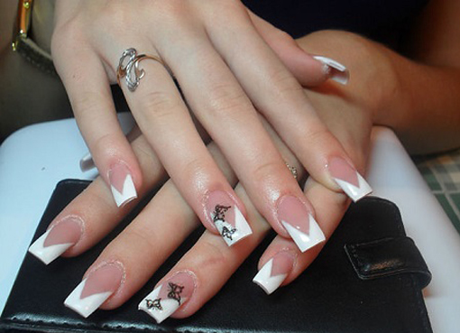 Варианты французского маникюра на нарощенных ногтях фото