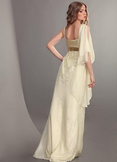 Белое вечерние летние коктельное выпускное платье в греческом стиле