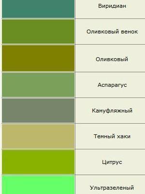 Зеленый цвет оттенки названия