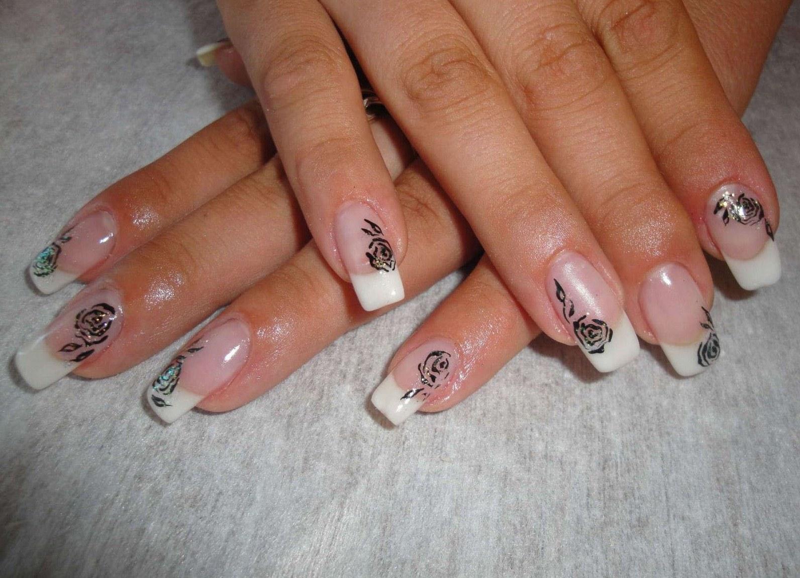 Ногти рисунки на френч фото