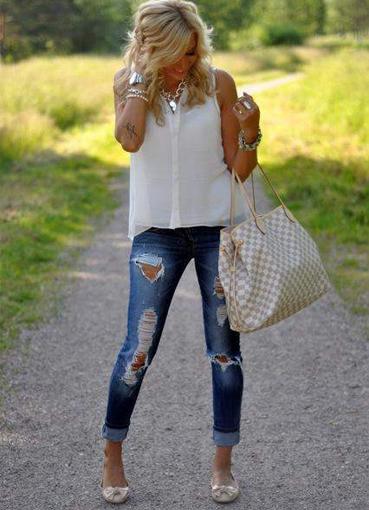Как сделать красивые рваный джинсы