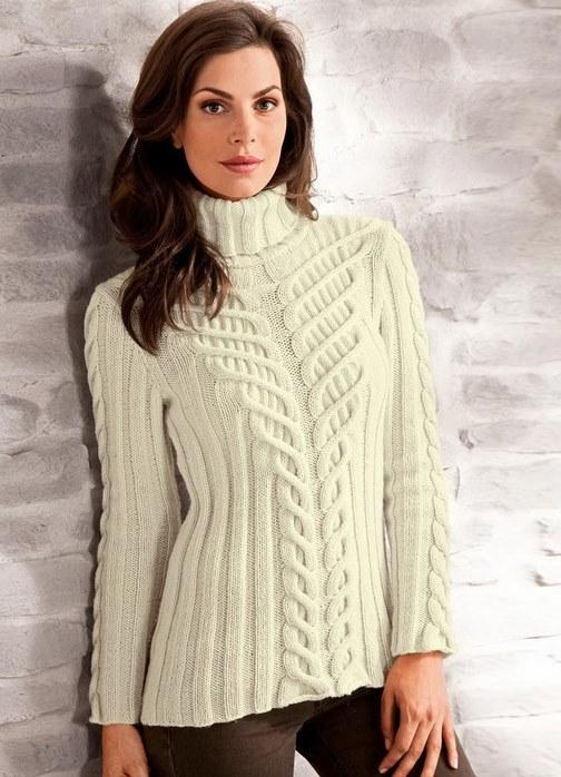Белый свитер с красивейшими косами.. Обсуждение на LiveInternet