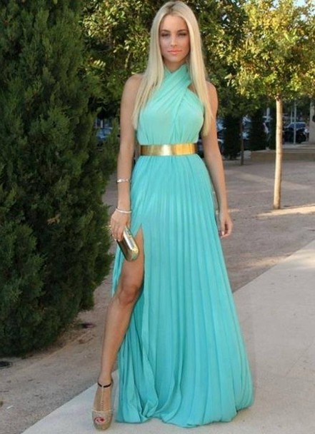С чем носить бирюзовое платья