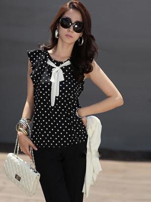 Блузка с  в горошек фото