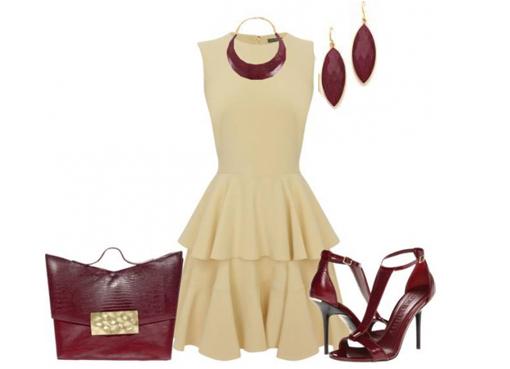 Бордовое платье с чем сочетается