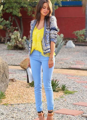 Что надеть по синие джинсы