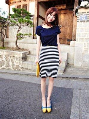 Полосатая юбка сочетание