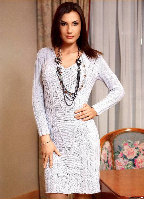 Вязаное платье до колен фото