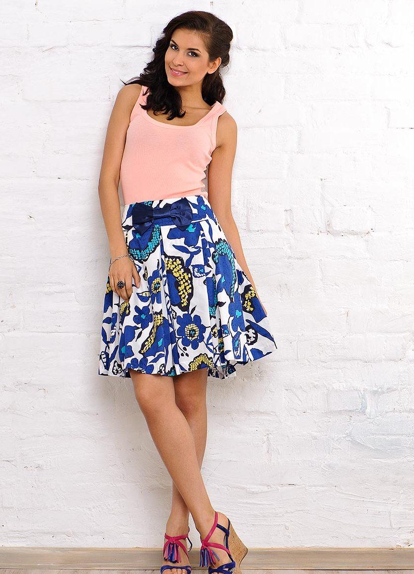 Цветочная юбка с чем носить фото