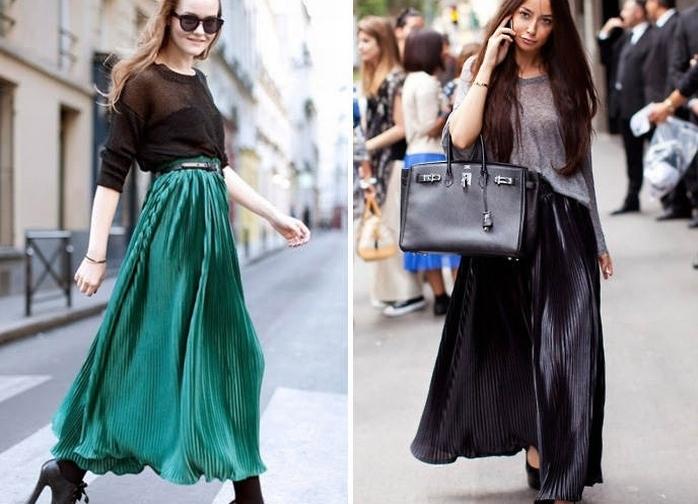 Полосатые юбки в пол с чем носить