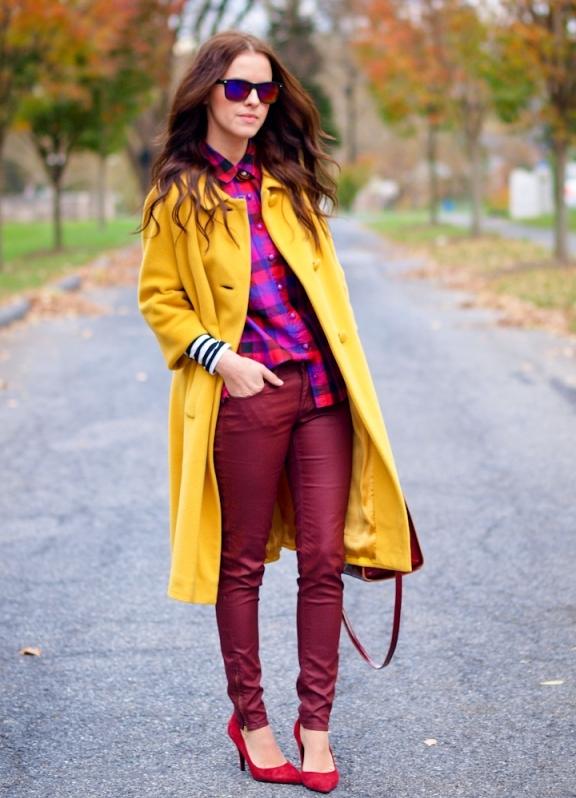 Желтые пальто с чем носить