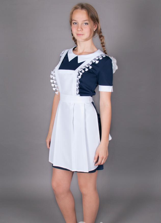 Школьная форма платье с фартуком синее