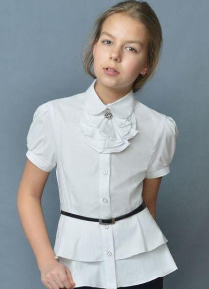 Школьная блузка для девочки атлас 114