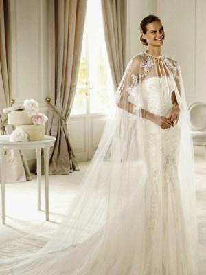 Простое Свадебное Платье С Кружевной Накидкой 72