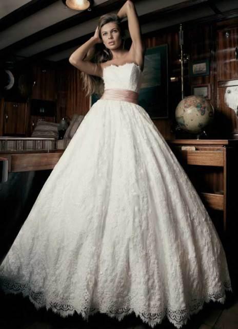 пышные свадебные платья с кружевом фото