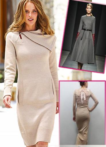 Теплые платья с вязаными элементами