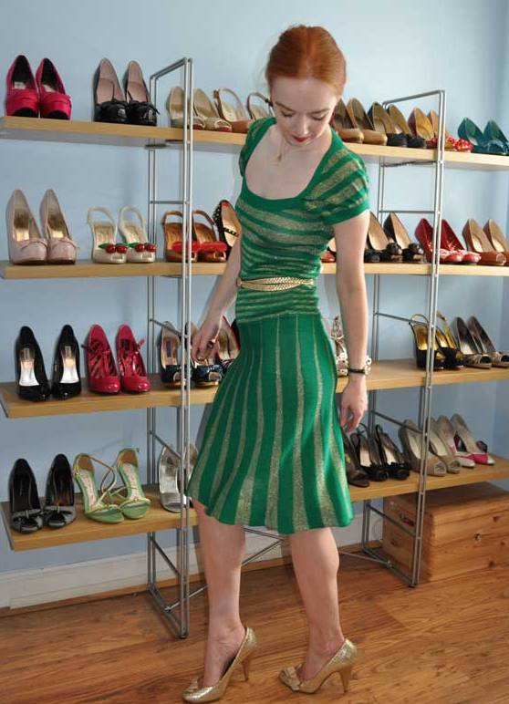 Аксессуары к зелёному платью фото