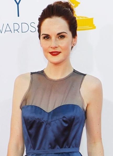 Голубое платье красная помада