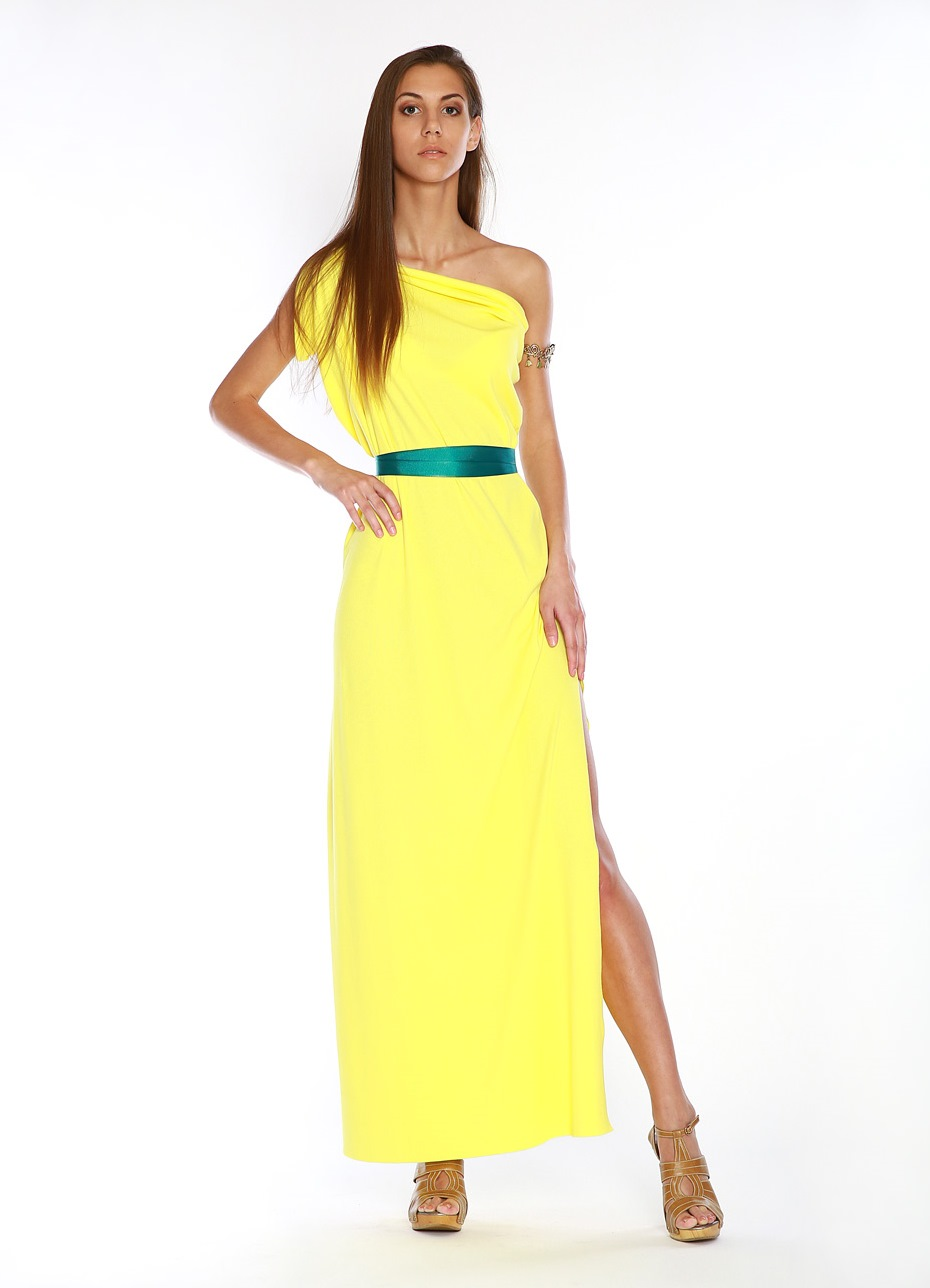 Зеленое и желтое платье